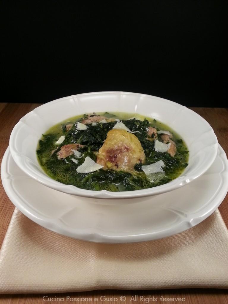 Zuppa di spinaci e pollo