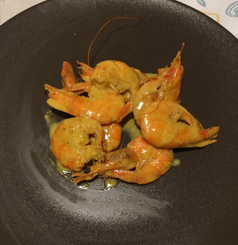 mazzancolle con salsa al curry