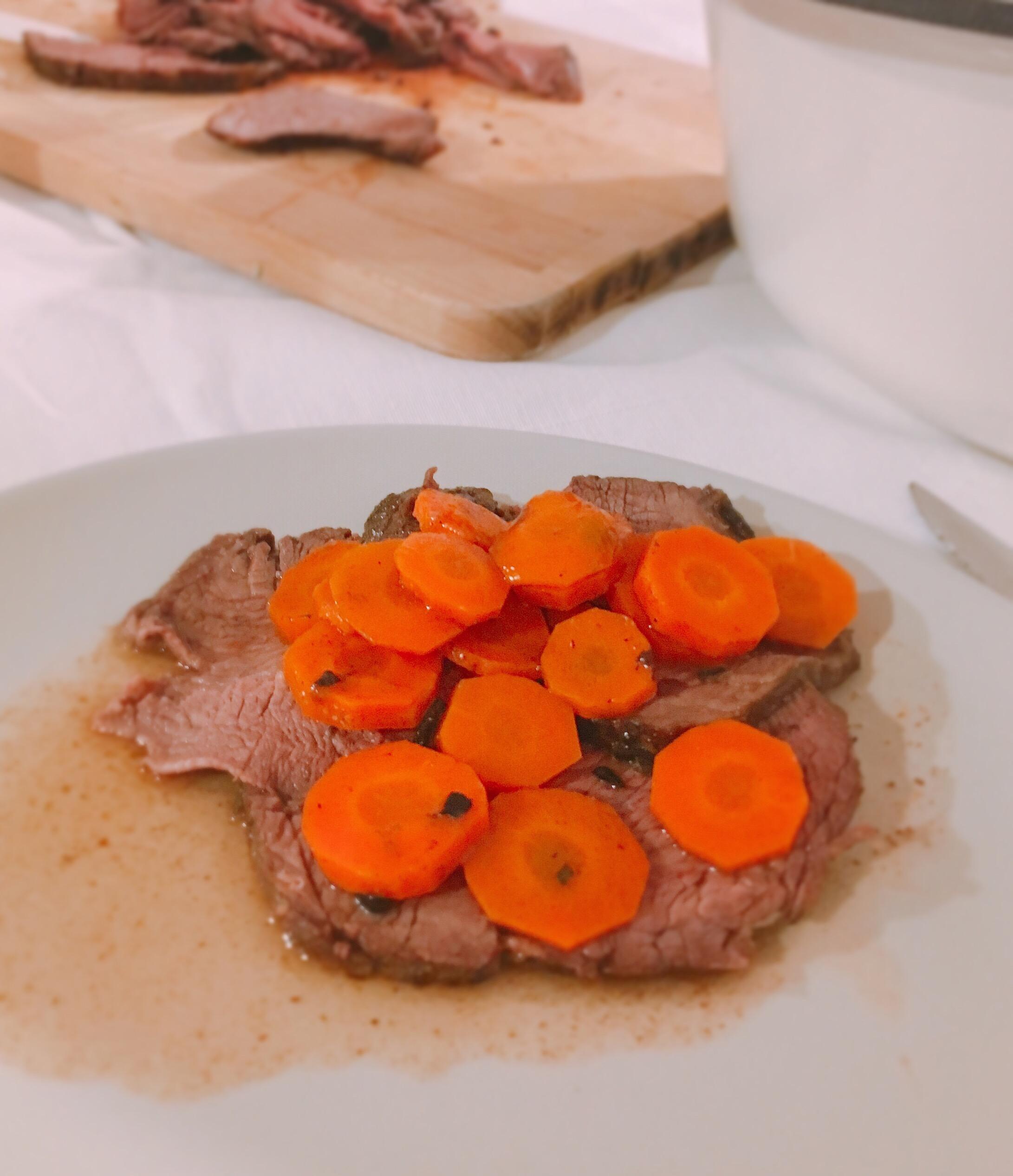 Arrosto carne carote