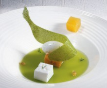 pea jelly  banana and lime ice cream
