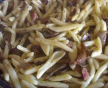 Fricelli  con funghi e pancetta