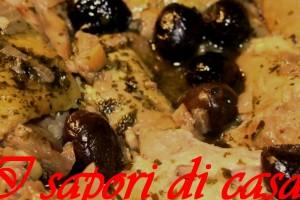 Pollo alle olive nere e noci
