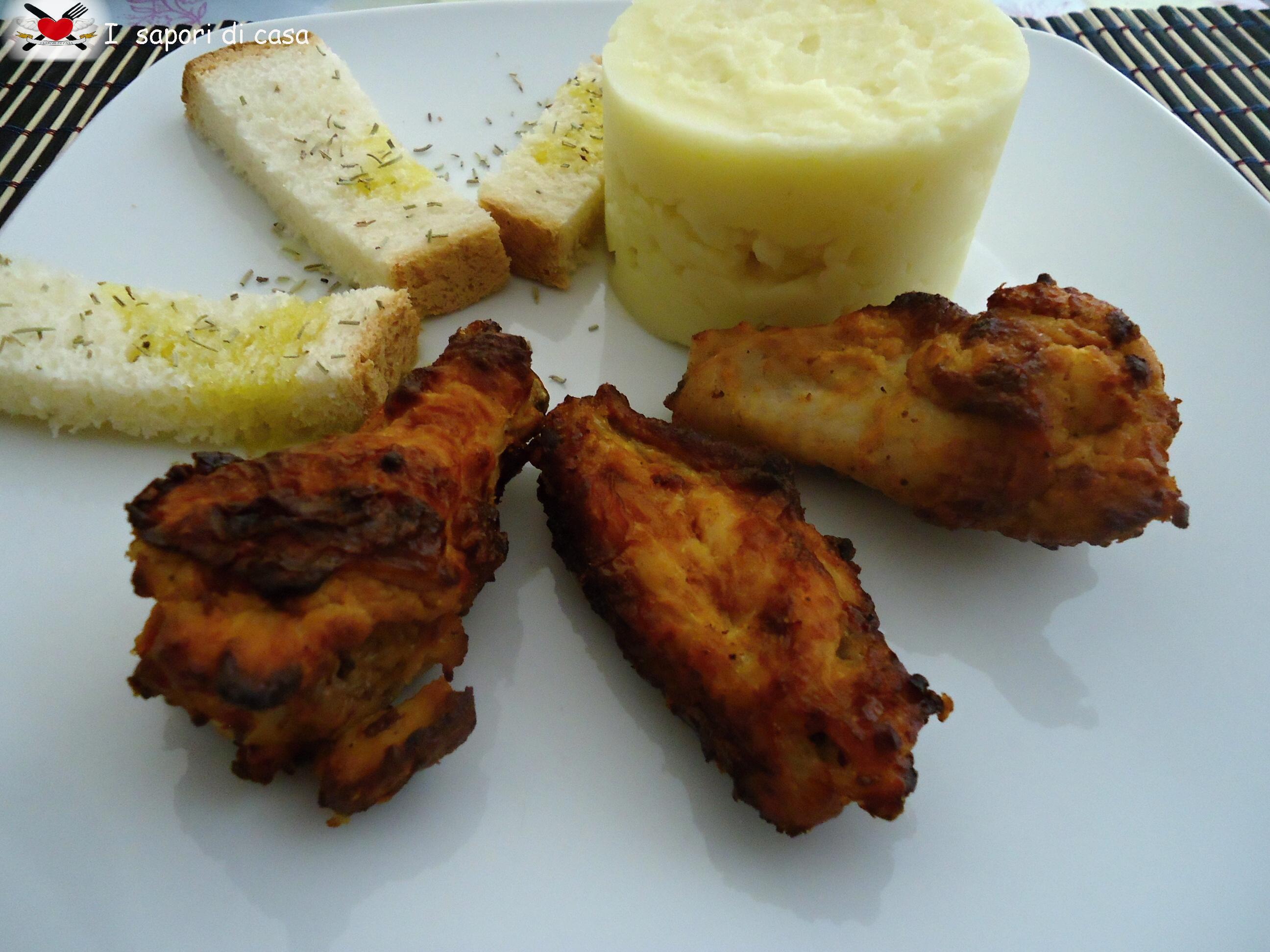 Alette di pollo glassate al forno con purè senza grassi