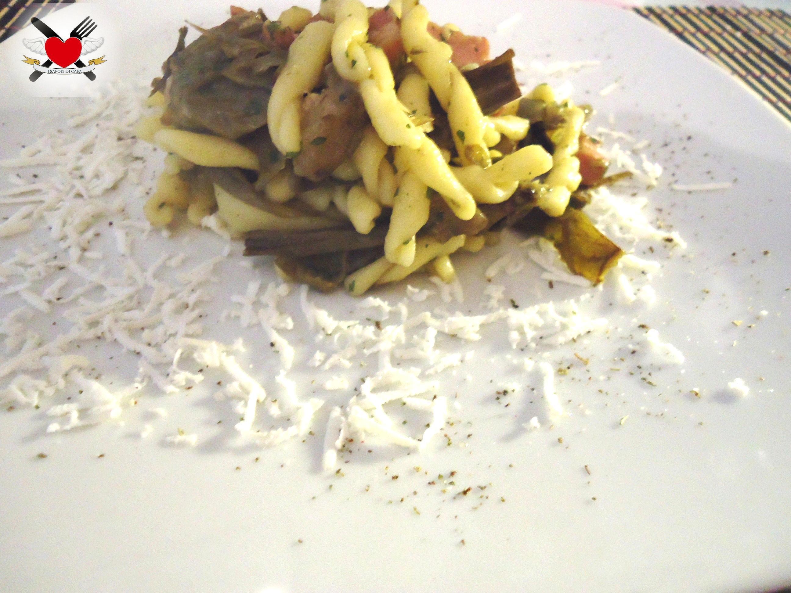 Strozzapreti con carciofi e pancetta