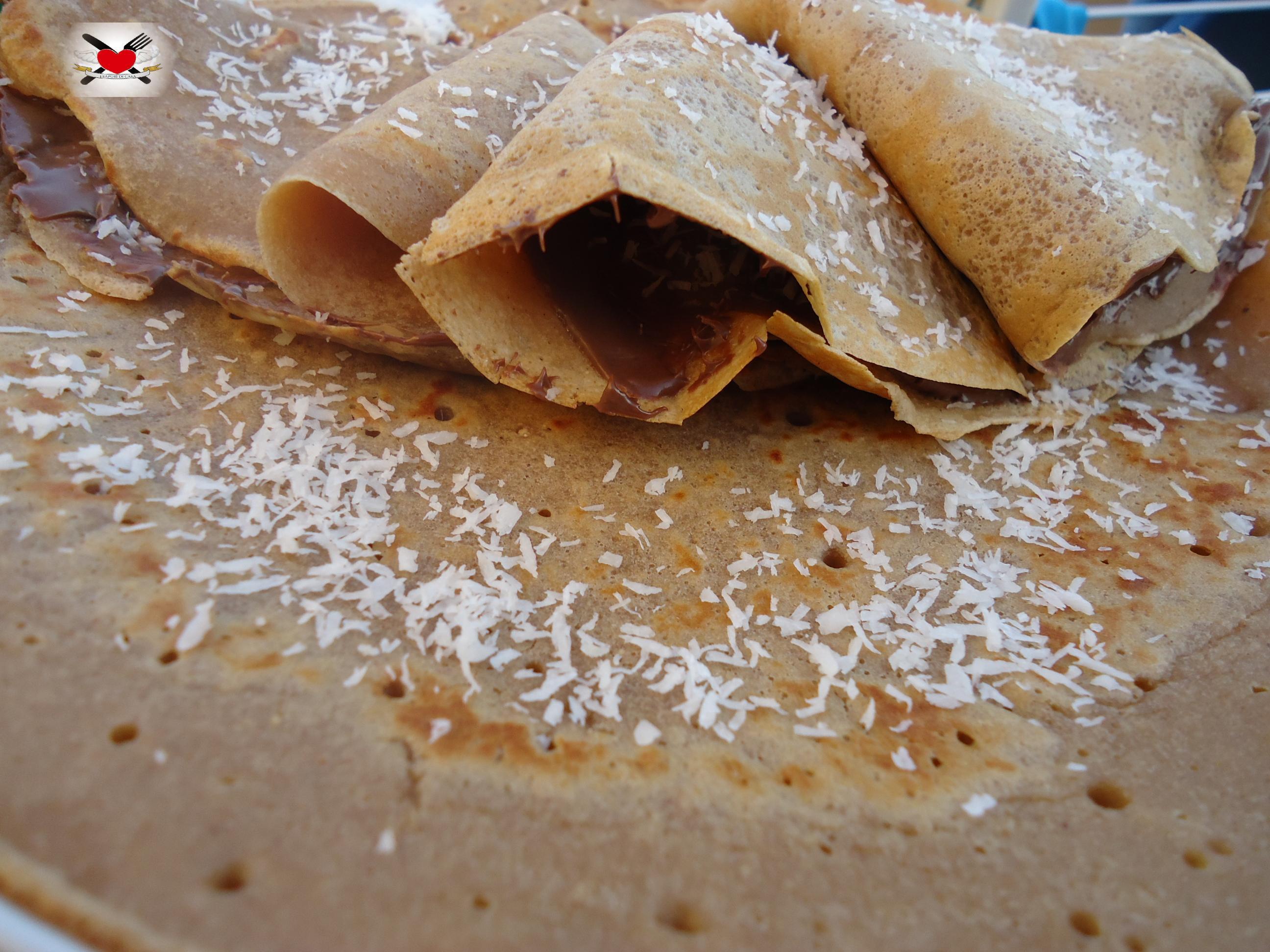 Crepes con farina di castagne alla nutella e cocco