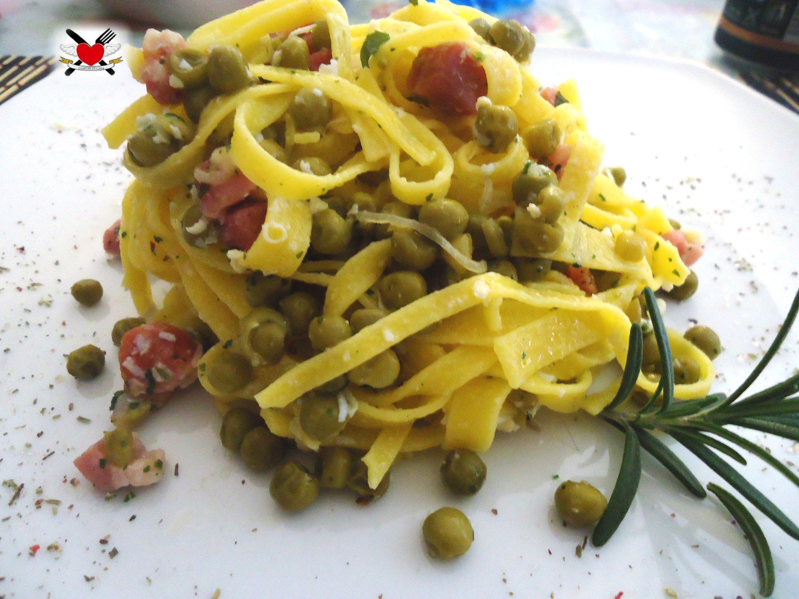 Lasagnette con piselli speck e ricotta affumicata