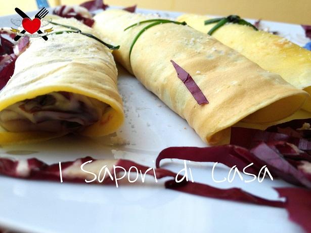Crepes con radicchio rosso e besciamella al parmigiano