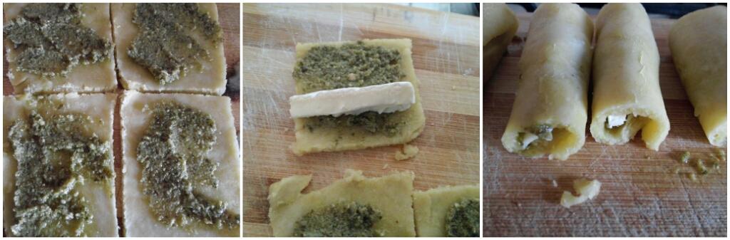 Brisè rolls con pesto ai pistacchi e camembert