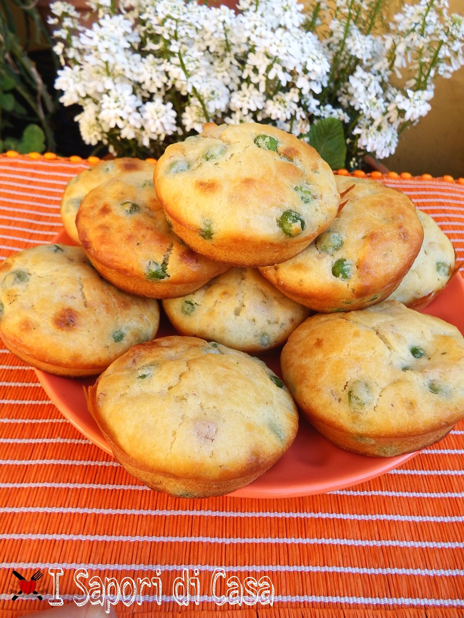 Muffin salati piselli pancetta e pecorino