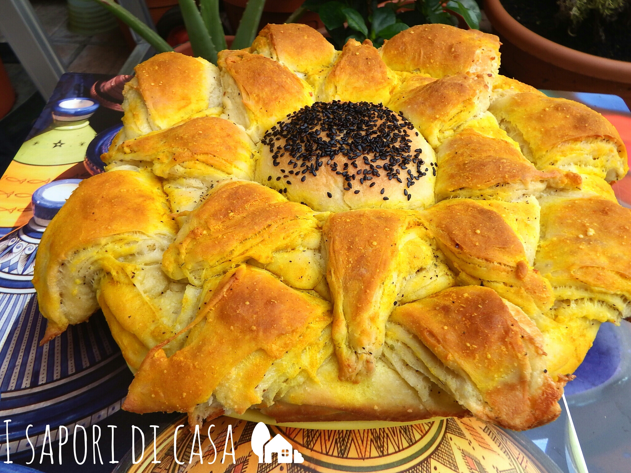 Girasole di pane al parmigiano