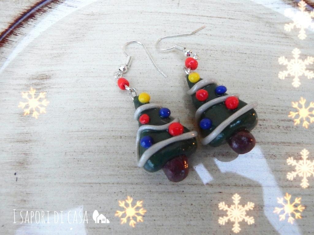 Orecchini Albero di Natale in fimo - tutorial