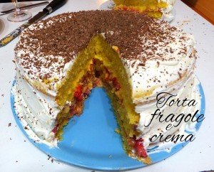 Torta alle fragole e crema