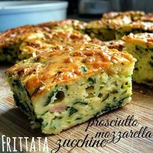 Frittata zucchine prosciutto e mozzarella