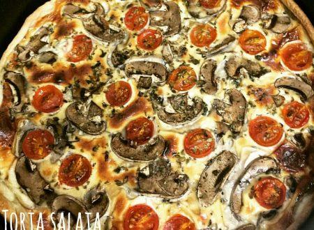 Torta salata ai funghi e pomodorini