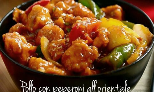 Bocconcini di pollo e peperoni all'orientale