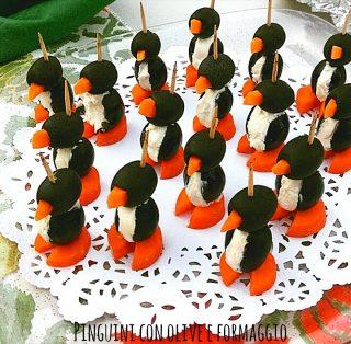 Pinguini con olive e formaggio - idee ricette per Natale