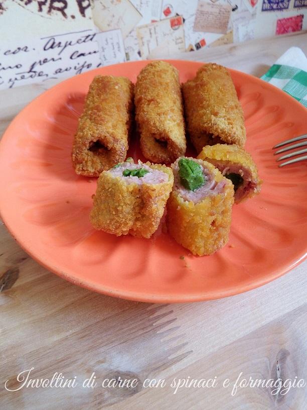Involtini di carne con spinaci e formaggio