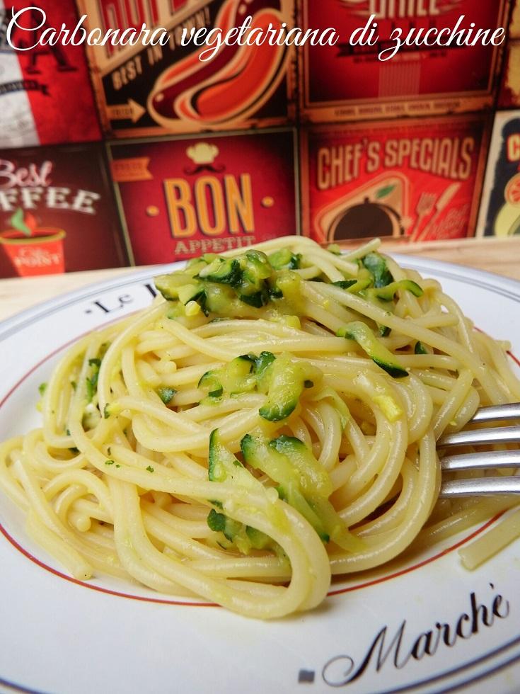 Carbonara vegetariana con zucchine
