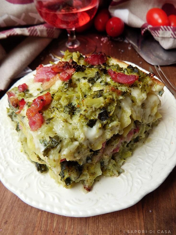 Lasagne bianche con broccoli e pancetta