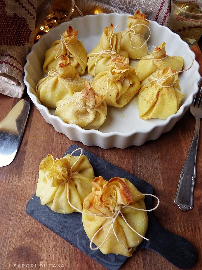 Fagottini di crepes con zucchine prosciutto e ricotta