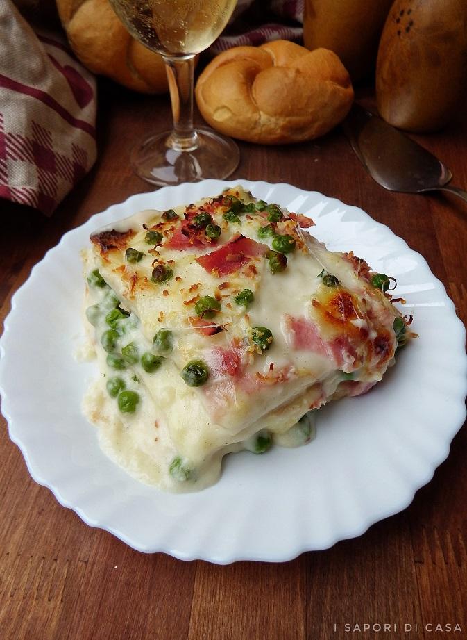 Lasagne di pancarrè con prosciutto e piselli