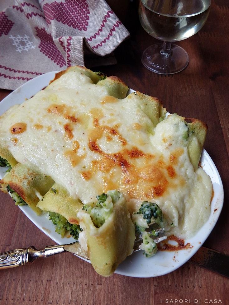Cannelloni di crespelle ai broccoli
