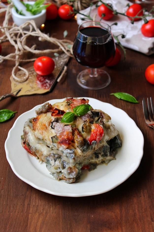 Lasagne di pancarre con verdure e prosciutto