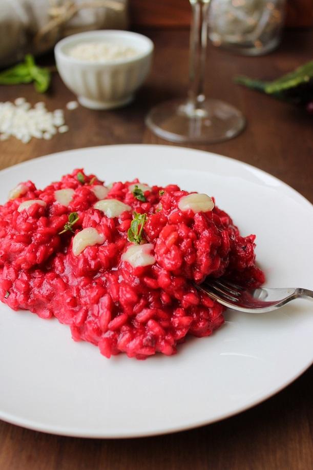 Risotto con rapa rossa e gorgonzolai