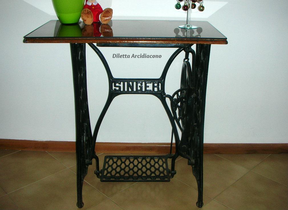 Tavolo per ingresso idea riciclo cucina prediletta for Porta bobina macchina da cucire