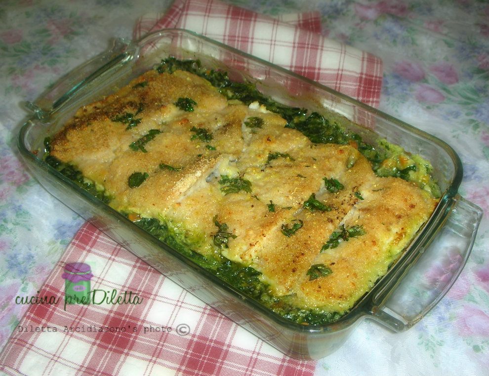 Filetti di merluzzo gratinati con spinaci - cucina preDiletta