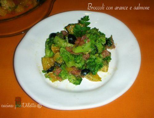 Broccoli con arance e salmone