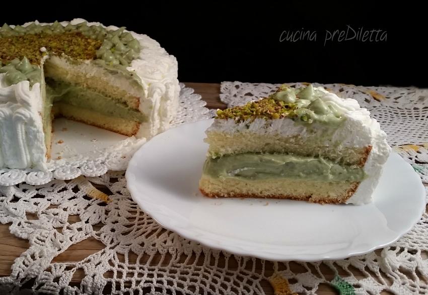 Torta farcita al pistacchio ricetta torta di compleanno cucina prediletta - Glassa a specchio su pan di spagna ...