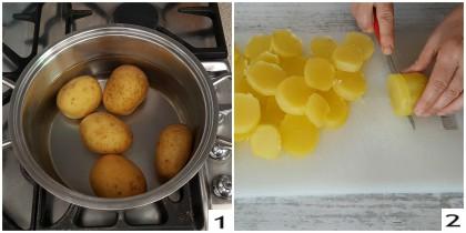 Insalata calda con patate, pomodori e mozzarella, preparazione 1