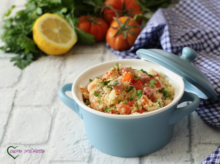 Couscous con prosciutto e verdure
