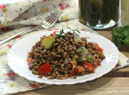 Insalata di lenticchie con pomodori e sottaceti
