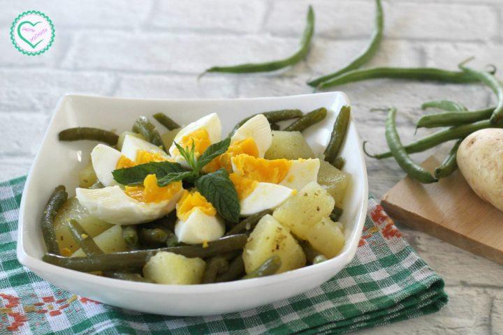 Insalata di patate e fagiolini con uova