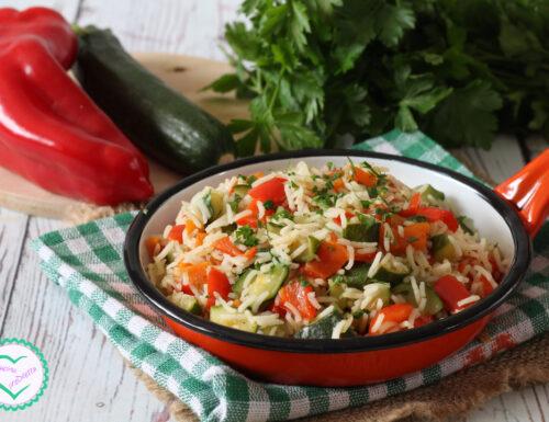 Riso con zucchine e peperoni