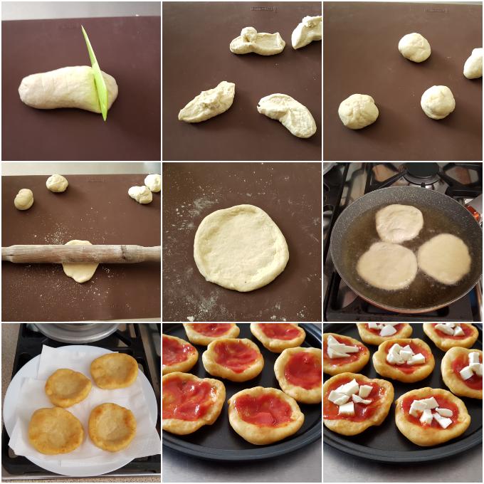 Pizzette fritte senza lievitazione, preparazione