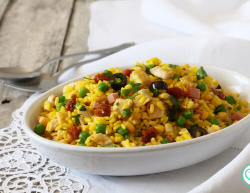 Insalata di riso con pollo e frittata