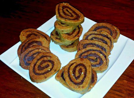 biscotti girella al farro e nocciole ripiene di nutella