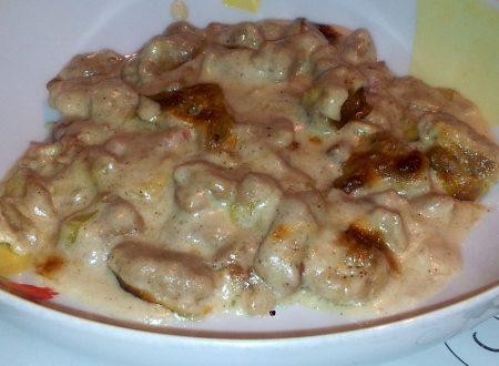 gnocchi di ricotta e castagne gratinati con pancetta, porri e crescenza