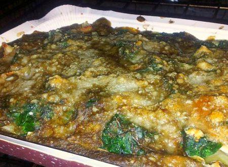 lasagne di spinaci e tacchino con besciamella ai carciofi