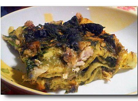lasagne alla besciamella di pesto alla genovese con filetti di cernia e spinaci