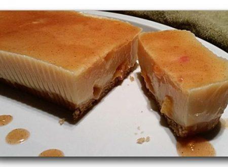 torta budino alla vaniglia e pesche caramellate zenzero cannella