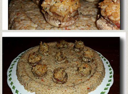 risotto in forma gamberetti e champignon