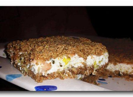 sbrisolona integrale salata alla ricotta porri e salmone