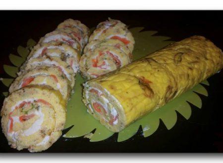 rotolo salmone e fiori di zucchina