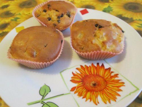 Muffins alla pera con gocce di cioccolato