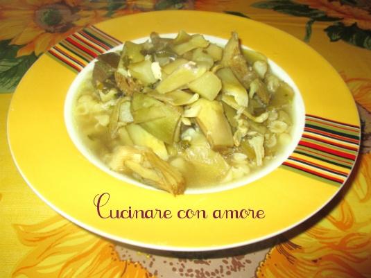 Margheritine con zuppa di carciofi e patate