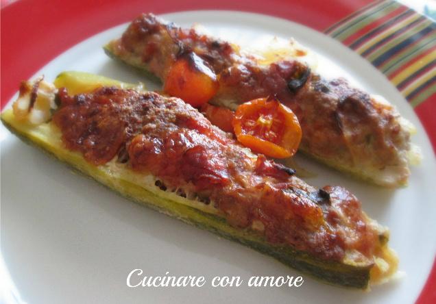 zucchine ripiene di carne al forno